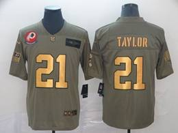 Mens Nfl Washington Redskins #21 Sean Taylor 2019 Green Olive Gold Number Salute To Service Limited Jersey