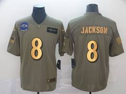 Mens Nfl Baltimore Ravens #8 Lamar Jackson 2019 Green Olive Gold Number Salute To Service Limited Jersey