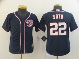 Women Youth Mlb Washington Nationals #22 Juan Soto Navy Blue Stars And Stripes Cool Base Jersey