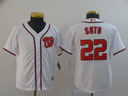 Women Youth Mlb Washington Nationals #22 Juan Soto White Cool Base Jersey