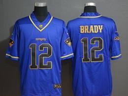 Mens New England Patriots #12 Tom Brady Blue Golden Vapor Untouchable Limited Jerseys