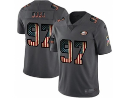 Mens Nfl San Francisco 49ers #97 Nick Bosa Black Pays Tribute To Retro Flag Carbon Nike Limited Jerseys