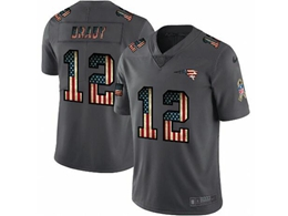 Mens New England Patriots #12 Tom Brady Black Pays Tribute To Retro Flag Carbon Nike Limited Jerseys