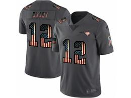Mens New England Patriots #12 Tom Brady Black Pays Tribute To Retro Flag Carbon Nike Limited Jerseys
