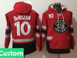 Mens Nba Toronto Raptors Custom Made Red With Pocket Hoodie Jersey