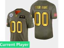 Mens Dallas Cowboys Current Player 2019 Green Olive Gold Number Salute To Service Limited Jersey