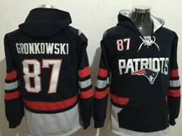 Mens Nfl New England Patriots #87 Gronkowski Blue Pocket Team Hoodie Jersey