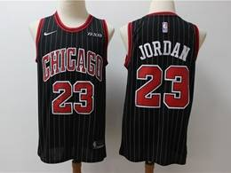 Mens Nba Chicago Bulls #23 Michael Jordan Black Stripe New Season Swingman Jersey