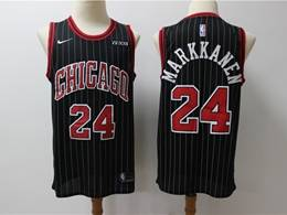 Mens Nba Chicago Bulls #24 Lauri Markkanen Black Stripe New Season Swingman Jersey