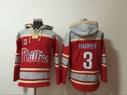 Mens Mlb Philadephia Phillies #3 Bryce Harper Red Hoodie Jersey