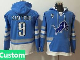 Mens Nfl Detroit Lions Custom Made Blue With Pocket Hoodie Jersey