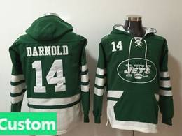 Mens Nfl New York Jets Custom Made Green With Pocket Hoodie Jersey