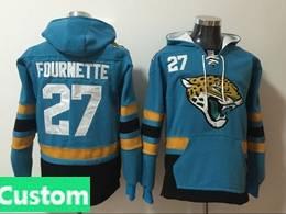Mens Nfl Jacksonville Jaguars Custom Made Blue With Pocket Hoodie Jersey