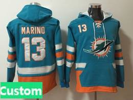 Mens Nfl Miami Dolphins Custom Made Green With Pocket Hoodie Jersey