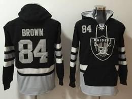 Mens Nfl Oakland Raiders #84 Antonio Brown Black With Pocket Hoodie Jersey