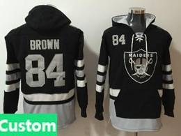 Mens Nfl Oakland Raiders Custom Made Black With Pocket Hoodie Jersey