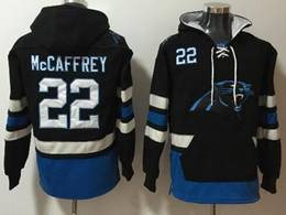 Mens Nfl Carolina Panthers #22 Christian Mccaffrey Black With Pocket Hoodie Jersey