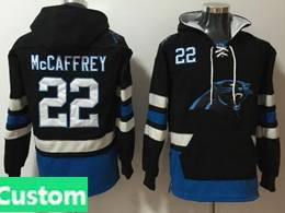 Mens Nfl Carolina Panthers Custom Made Black With Pocket Hoodie Jersey