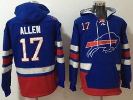 Mens Nfl Buffalo Bills #17 Josh Allen Blue With Pocket Hoodie Jersey