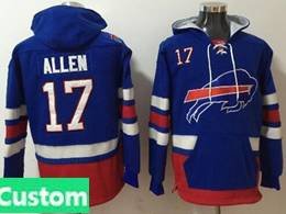 Mens Nfl Buffalo Bills Custom Made Blue With Pocket Hoodie Jersey