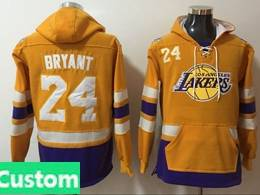 Mens Nba Los Angeles Lakers Custom Made Purple With Pocket Hoodie Jersey