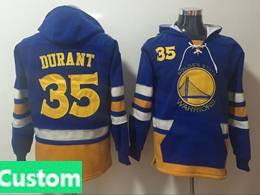 Mens Nba Golden State Warriors Custom Made Blue With Pocket Hoodie Jersey