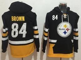 Mens Nfl Pittsburgh Steelers #84 Antonio Brown Black With Pocket Team Hoodie Jersey