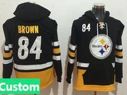 Mens Nfl Pittsburgh Steelers Custom Made Black With Pocket Team Hoodie Jersey