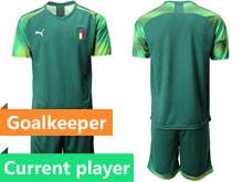 Mens 20-21 Soccer Italy National Team Current Player Green Goalkeeper Short Sleeve Suit Jersey