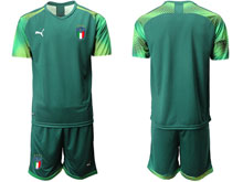 Mens 20-21 Soccer Italy National Team ( Custom Made ) Green Goalkeeper Short Sleeve Suit Jersey