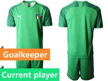 Mens 20-21 Soccer Italy National Team Current Player Light Green Goalkeeper Short Sleeve Suit Jersey