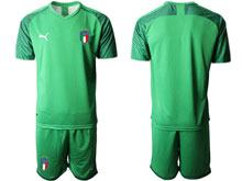 Mens 20-21 Soccer Italy National Team ( Custom Made ) Light Green Goalkeeper Short Sleeve Suit Jersey