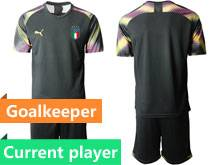 Mens Soccer Italy National Team Current Player Black 2020 European Cup Goalkeeper Short Sleeve Suit Jersey