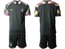 Mens 20-21 Soccer Italy National Team ( Custom Made ) Black Goalkeeper Short Sleeve Suit Jersey