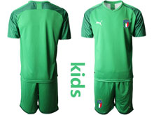 Youth 20-21 Soccer Italy National Team ( Custom Made ) Light Green Goalkeeper Short Sleeve Suit Jersey