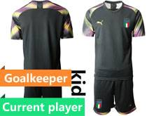 Youth 20-21 Soccer Italy National Team Current Player Black Goalkeeper Short Sleeve Suit Jersey