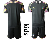 Kids Soccer Italy National Team ( Custom Made ) Black 2020 European Cup Goalkeeper Short Sleeve Suit Jersey