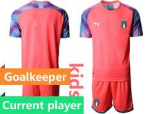 Kids Soccer Italy National Team Current Player Pink 2020 European Cup Goalkeeper Short Sleeve Suit Jersey