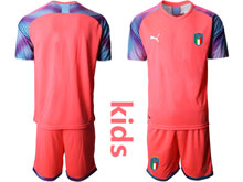 Kids Soccer Italy National Team ( Custom Made ) Pink 2020 European Cup Goalkeeper Short Sleeve Suit Jersey