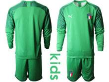 Kids Soccer Italy National Team ( Custom Made ) Light Green 2020 European Cup Goalkeeper Long Sleeve Suit Jersey