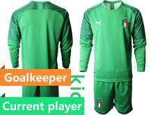 Youth 20-21 Soccer Italy National Team Current Player Light Green Goalkeeper Long Sleeve Suit Jersey