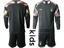 Youth 20-21 Soccer Italy National Team ( Custom Made ) Black Goalkeeper Long Sleeve Suit Jersey