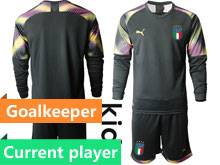 Kids Soccer Italy National Team Current Player Black 2020 European Cup Goalkeeper Long Sleeve Suit Jersey