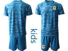 Youth 19-20 Soccer Argentina National Team ( Custom Made ) Blue Goalkeeper Short Sleeve Jersey