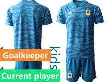 Youth 19-20 Soccer Argentina National Team Current Player Blue Goalkeeper Short Sleeve Jersey