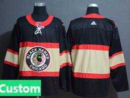 Mens Nhl Chicago Blackhawks Custom Made Black Inverted Legend Adidas Jersey