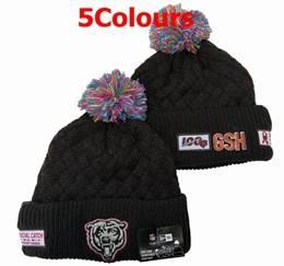 Mens Nfl Chicago Bears Black&orange 100th New Sport Knit Hats 5 Colors