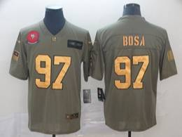 Mens Nfl San Francisco 49ers #97 Nick Bosa 2019 Green Olive Gold Number Salute To Service Limited Jersey