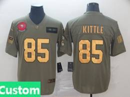 Mens Nfl San Francisco 49ers Custom Made 2019 Green Olive Gold Number Salute To Service Limited Jersey