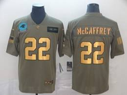 Mens Nfl Carolina Panthers #22 Christian Mccaffrey 2019 Green Olive Gold Number Salute To Service Limited Jersey